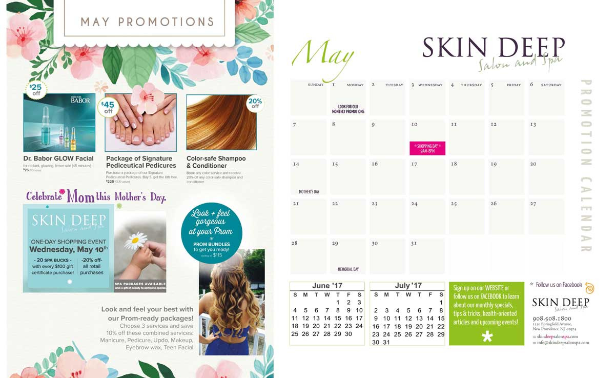 skin deep salon and spa may promotion calendar mothers day