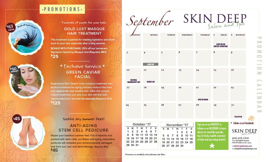 2017-sept-promo-calendar- Skin Deep Salon Spa New Providence New Jersey