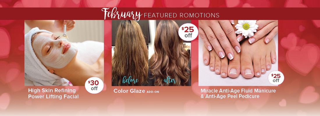 Skin Deep Salon Spa February 2018 specials promotions