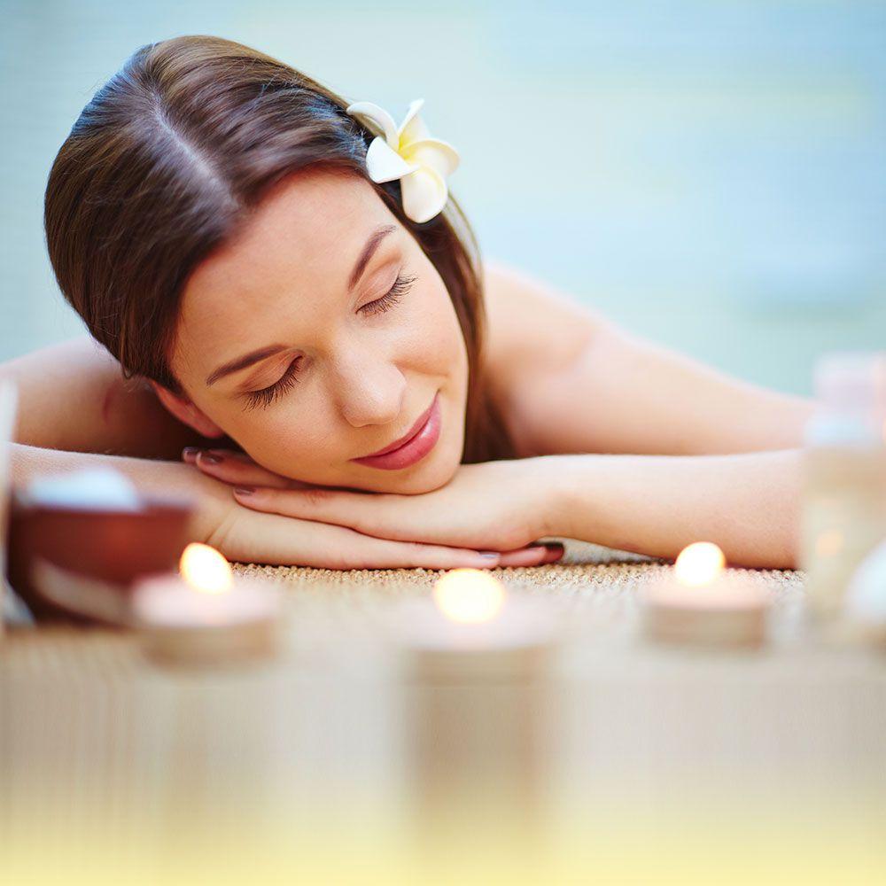 woman enjoying spa
